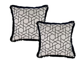 Milan Black with Fringe 45cm Outdoor Cushion 2 Pack