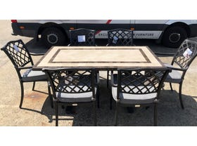 FLOOR MODEL- Milano Table with Florentine Chairs 7pc Dining Setting