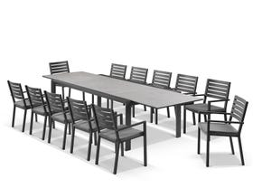 Mona Ceramic Extension Table with Mayfair Chairs 13pc Outdoor Dining Setting
