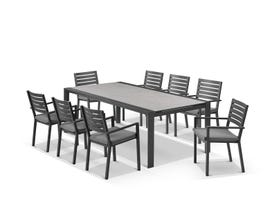 Mona Ceramic Extension Table with Mayfair Chairs 11pc Outdoor Dining Setting