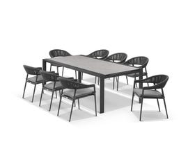 Mona Ceramic Extension Table with Nivala Chairs 13pc Outdoor Dining Setting