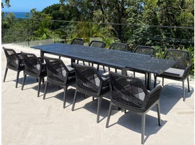 Mona Ceramic Extension Table with Serang Chairs 11pc Outdoor Dining Setting