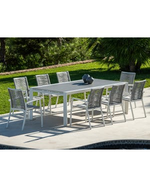 Mona Ceramic Extension Table with Sevilla  Rope Chairs 9pc Outdoor Dining Setting