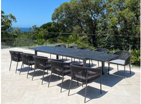 Mona Ceramic Extension Table with Gizella Chairs 11pc Outdoor Dining Setting