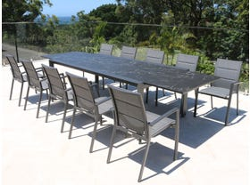 Mona Ceramic Extension Table with Sevilla Padded Chairs 11pc Outdoor Dining Setting