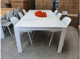 FLOOR MODEL- Mona C55 Extension Table with Galati Chairs 7pc Outdoor Dining Setting