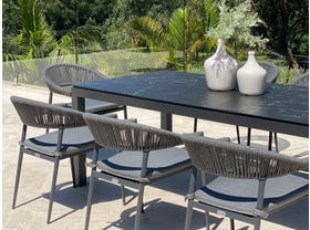 Danli Ceramic Table with Nivala Chairs 9pc Outdoor Dining Setting