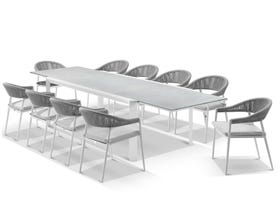 Tellaro Extension Table with Nivala Chairs 11pc Outdoor Dining Setting