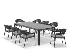 Tellaro Ceramic Table With Nivala Chairs 9pc Outdoor Dining Setting