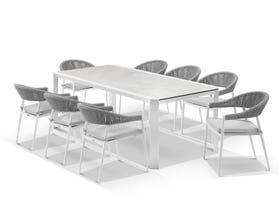 Tellaro Table with Nivala Chairs 9pc Outdoor Dining Setting