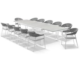 Tellaro Extension Table with Nivala Chairs 13pc Outdoor Dining Setting