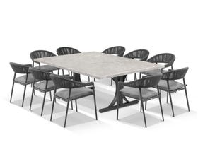 Luna 210cm Table with Nivala Chairs 11pc Outdoor Dining Setting