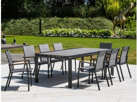 Mona Ceramic Extension Table with Sevilla Teak Arm Chairs -11pc Outdoor Dining Setting