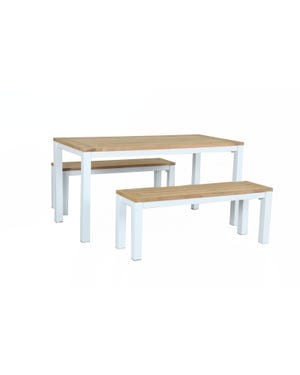 Outdoor Bench Setting -Corfu 4 Seater Matte White