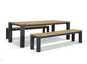 Corfu 6 Seater Outdoor Teak Bench Set