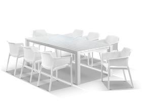Adele Table with Bailey Chairs 9pc Outdoor Dining Setting