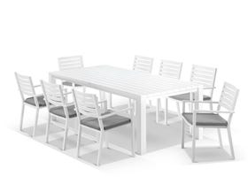 Adele Table With Mayfair Chairs 9pc Outdoor Dining Setting