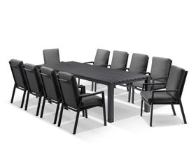 Adele table with Mikado Chairs 11pc Outdoor Dining Setting