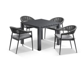Adele table with Nivala Chairs 5pc Outdoor Dining Setting