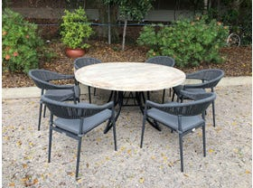 FLOOR MODEL -Aro Table with Nivala Chairs 7pc Outdoor Dining Setting