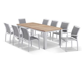 Corfu Extension Table with Verde Chairs 11pc Outdoor Dining Setting