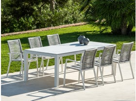 Danli Ceramic Table with Sevilla Rope  Chairs 7pc Outdoor Dining Setting