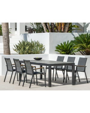Danli Ceramic Table with Sevilla Teak Arm Chairs 7pc Outdoor Dining Setting