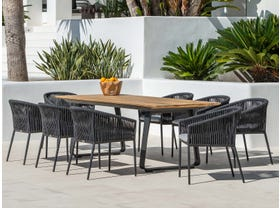 Elko Table with Gizella Chairs 9pc Outdoor Dining Setting