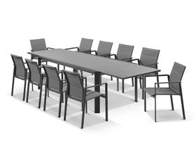 Tellaro Ceramic Extension Table With Meribel Chairs 11pc Outdoor Dining Setting