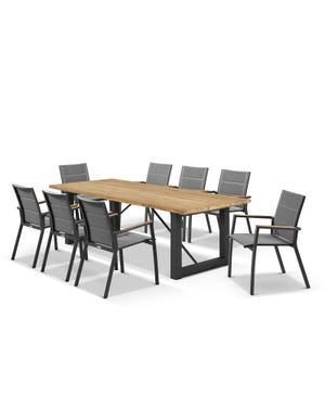 Laguna Table with Sevilla Teak Arm Chairs 9pc Outdoor Dining Setting