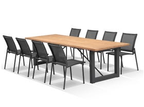 Laguna 290 Table with Pacific Chairs -9pc Outdoor Dining Setting