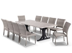Luna 220 Table with Lucerne Chairs 11pc Outdoor Dining Setting