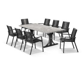 Luna 220cm Table with Sevilla Chairs 9pc Outdoor Dining Setting