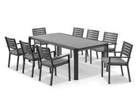 Tellaro Ceramic Extension Table With Mayfair Chairs 11pc Outdoor Dining Setting