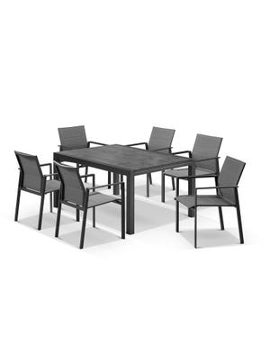 Laredo Extension Table with Meribel Chairs 9pc Outdoor Dining Setting