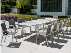 Mona Ceramic Extension Table with Sevilla Padded Dining Chairs -13pc Outdoor Setting