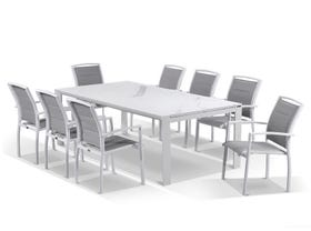 Mona Ceramic Extension Table with Verde Chairs -13pc Outdoor Setting