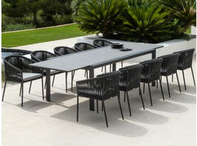 Mona Ceramic Extension Table With Gizella Chairs -11pc Outdoor Dining Setting