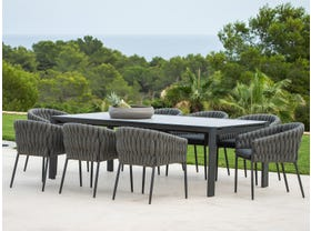 Mona Ceramic Extension Table with Palm Chairs 11pc Outdoor Dining Setting