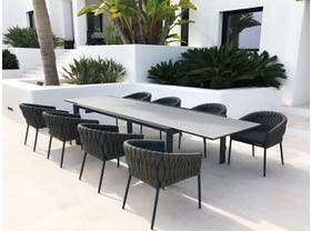 Mona Ceramic Extension Table with Palm Chairs 9pc Outdoor Dining Setting