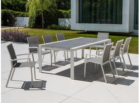 Mona Ceramic Extension Table with Sevilla Chairs -13pc Outdoor Dining Setting
