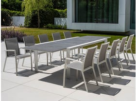 Mona Ceramic Extension Table with Sevilla Chairs -11pc Outdoor Dining Setting