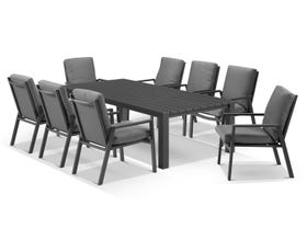Adele table with Mikado Chairs 9pc Outdoor Dining Setting