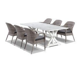 Vogue table with Essex  Chairs  - 7pc Outdoor Dining Setting