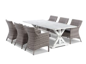 Vogue table with Maldives Chairs  - 7pc Outdoor Dining Setting