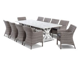 Vogue table with Maldives  Chairs  - 11pc Outdoor Dining Setting
