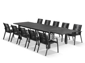 Bergen Ceramic Extension Table with Sevilla Rope Dining Chairs -11pc Outdoor Dining Setting