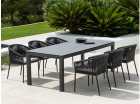 Danli Ceramic Table With Gizella Chairs -7pc Outdoor Dining Setting