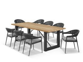 Laguna Table with Nivala Chairs 9pc Outdoor Dining Setting