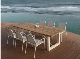 Laguna 240 Table with Pacific Chairs -7pc Outdoor Dining Setting